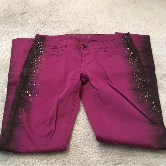 TRUCE Denim - TRUCE Purple Skinny Jeans Sz 7 w/ Embellishments